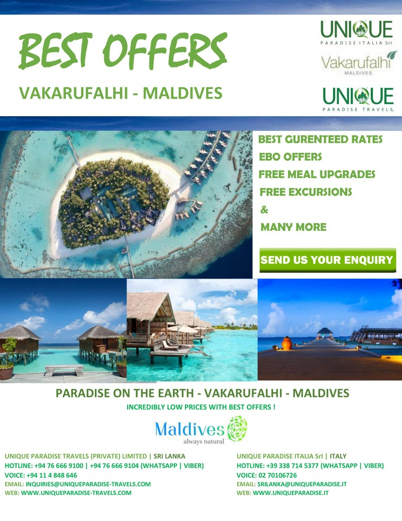 SPECIAL OFFERS -  ( VAKARUFALHI - MALDIVES ) - CONTACT US